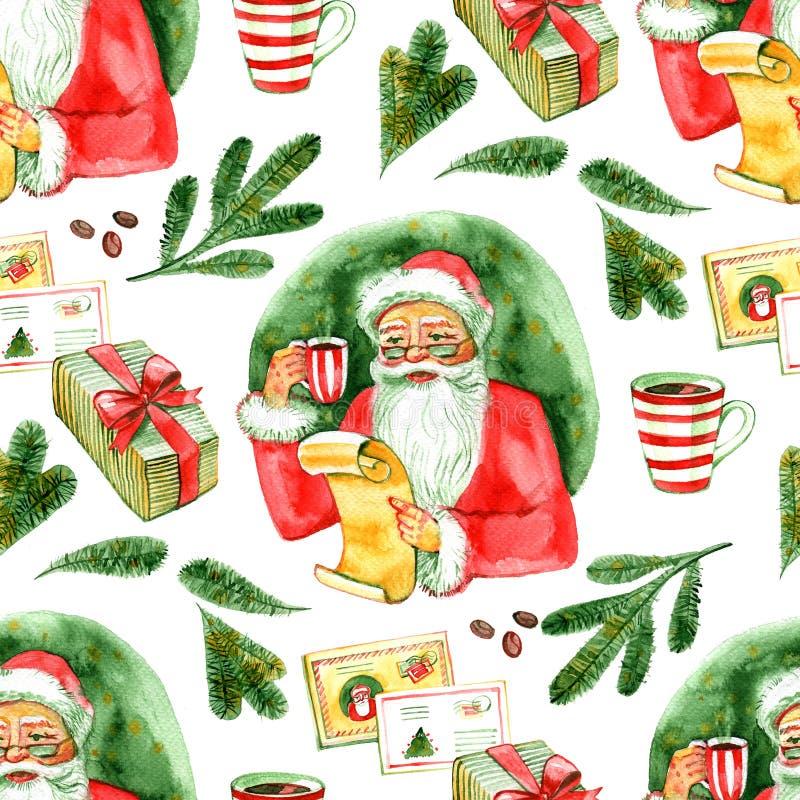 Modelo inconsútil La acuarela Santa Claus linda del vintage que bebe el té caliente, café y lee letras Ejemplo de la Navidad ilustración del vector