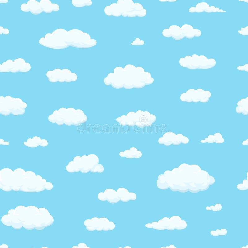 Modelo inconsútil Las nubes de diversas formas en el cielo para su sitio web diseñan, UI, app Meteorología y atmósfera adentro stock de ilustración