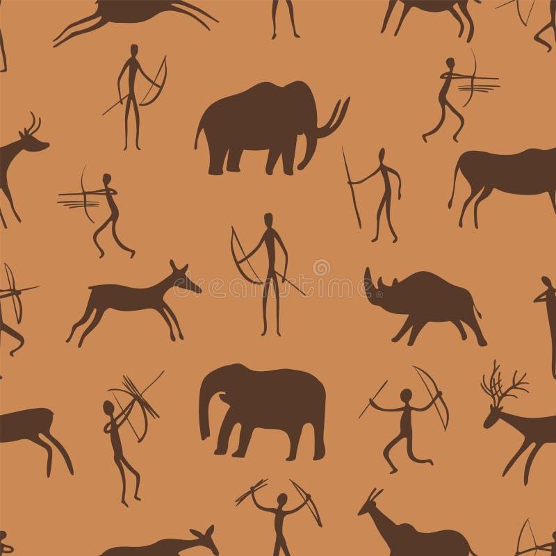 Modelo inconsútil Las pinturas antiguas de la roca muestran a la gente primitiva que caza en animales La era paleolítica libre illustration