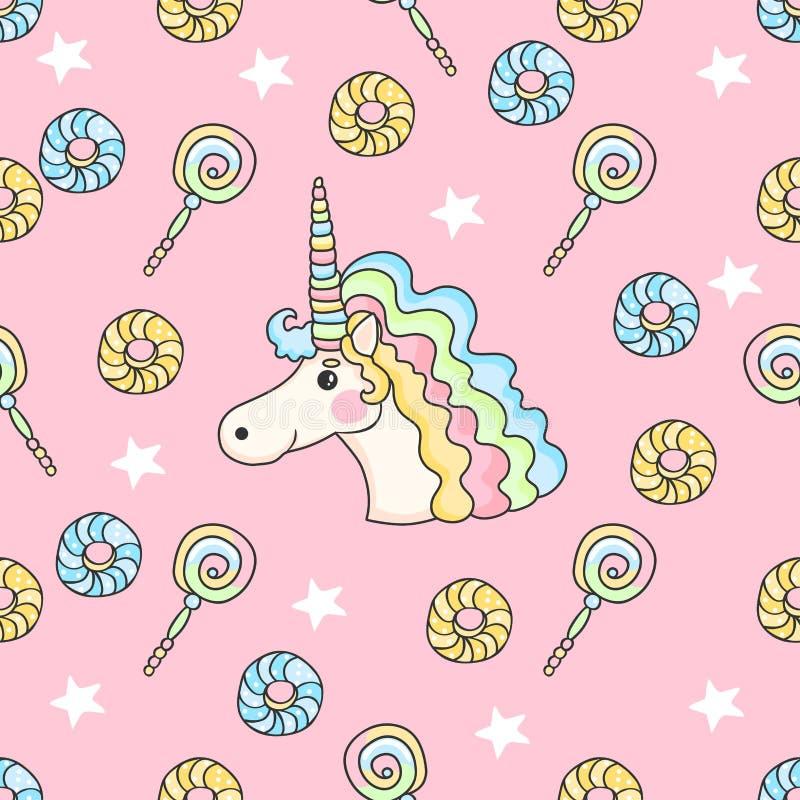 Modelo inconsútil lindo con el caramelo, las estrellas, los anillos de espuma y unicornio libre illustration