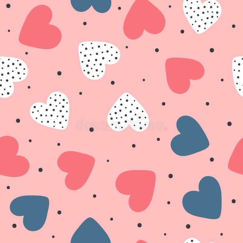 Modelo inconsútil lindo con la repetición de corazones y de puntos redondos Impresión sin fin romántica Dibujado a mano ilustración del vector