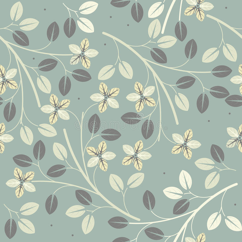 Modelo inconsútil lindo con las flores y las hojas decorativas stock de ilustración