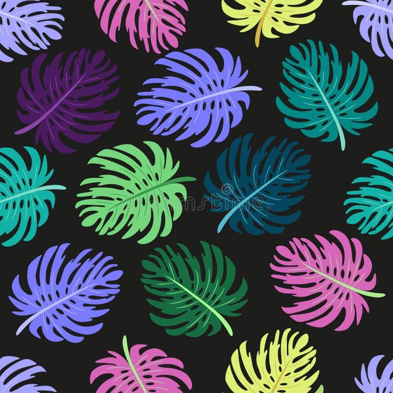 Modelo inconsútil lindo con las hojas de palma tropicales stock de ilustración