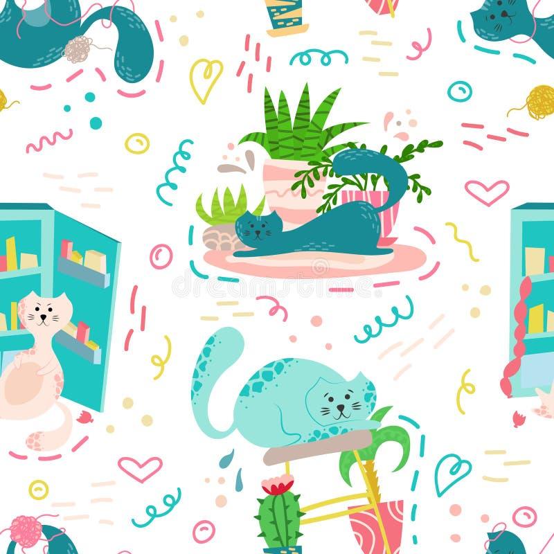 Modelo inconsútil lindo con las plantas, los gatos y los garabatos de la casa Flores en potes Hogar de Hygge diseño del fondo del libre illustration