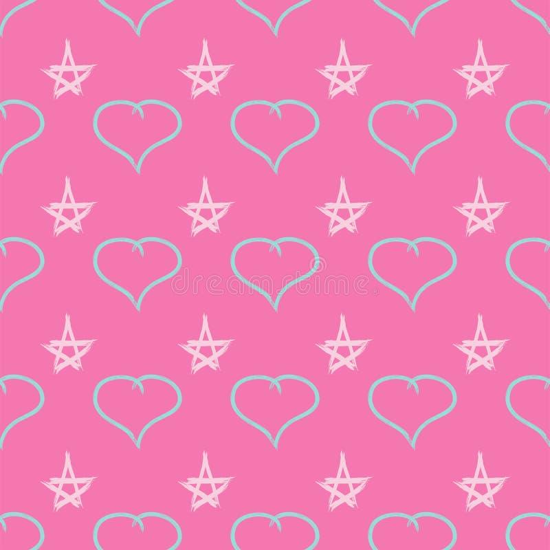 Modelo inconsútil lindo con los corazones y las estrellas dibujados por el cepillo del watercolour Bosquejo, pintada, pintura Ilu ilustración del vector