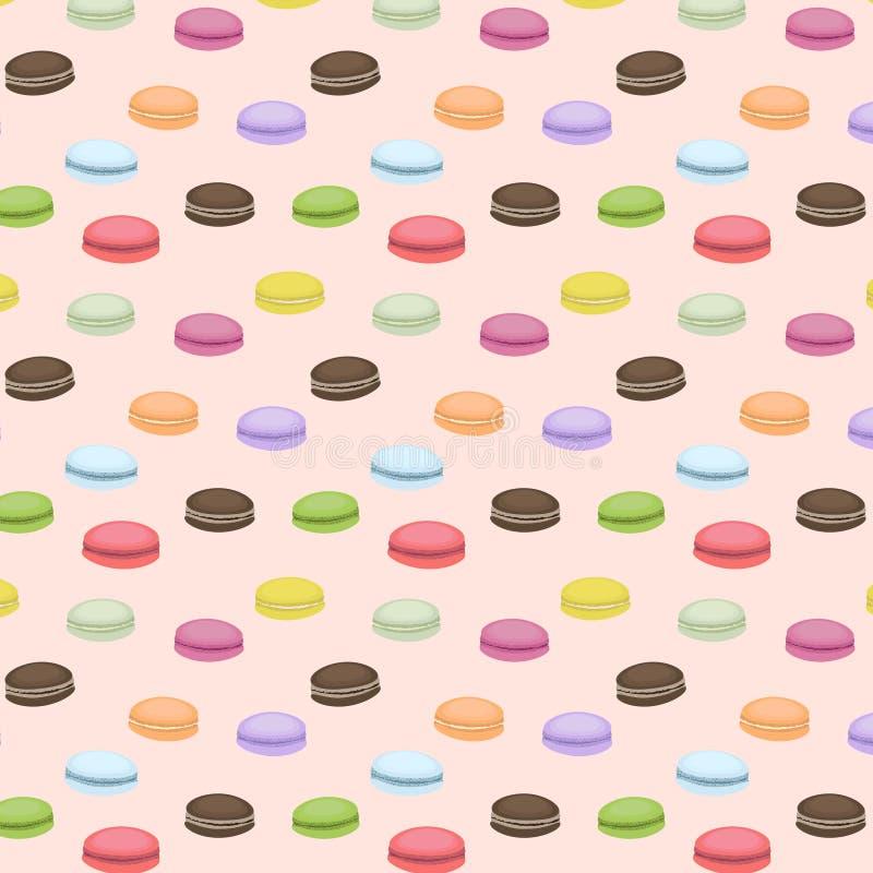 Modelo inconsútil lindo con los macarrones Fondo del vector Dulces franceses Macarrones coloridos Modelo rosado ilustración del vector
