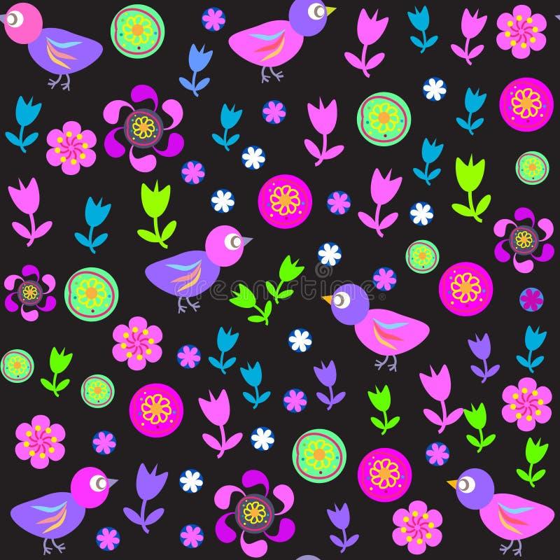 Modelo inconsútil lindo con los pájaros y las flores para t ilustración del vector