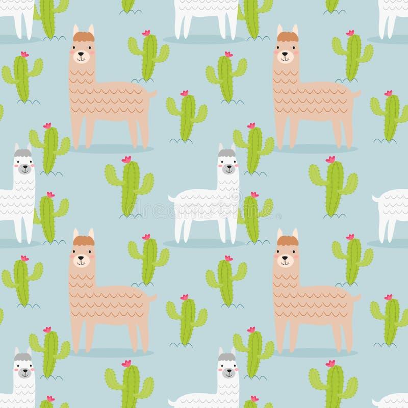 Modelo inconsútil lindo de la alpaca y del cactus libre illustration