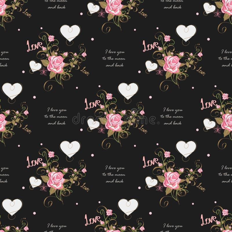 Modelo inconsútil lindo de la tarjeta del día de San Valentín s con los corazones Te amo a la luna y a la parte posterior stock de ilustración