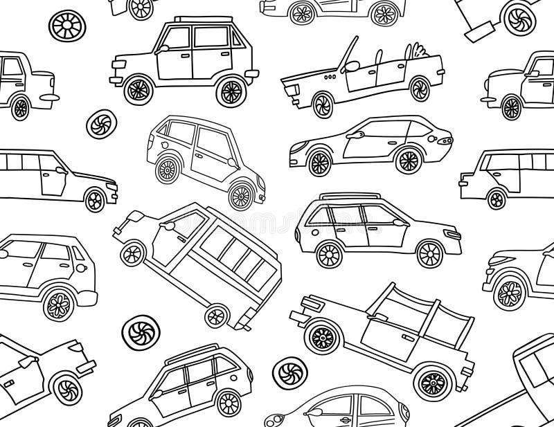Modelo inconsútil lindo de los coches del garabato stock de ilustración