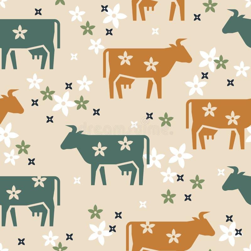 Modelo inconsútil lindo del vector de las vacas de los animales del campo, de las flores y de otros elementos en diversos colores stock de ilustración