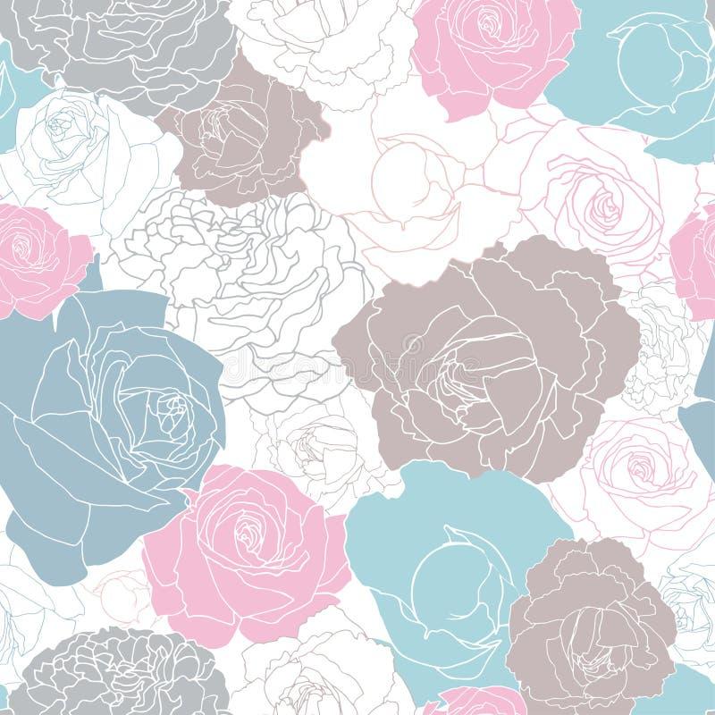 Modelo inconsútil llenado totalmente de las rosas stock de ilustración