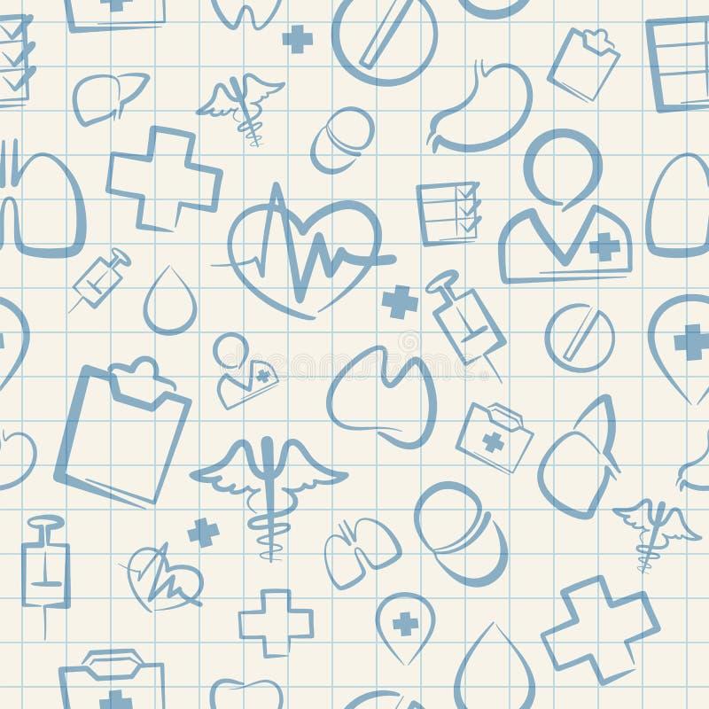 Modelo inconsútil médico en el papel ajustado blanco libre illustration