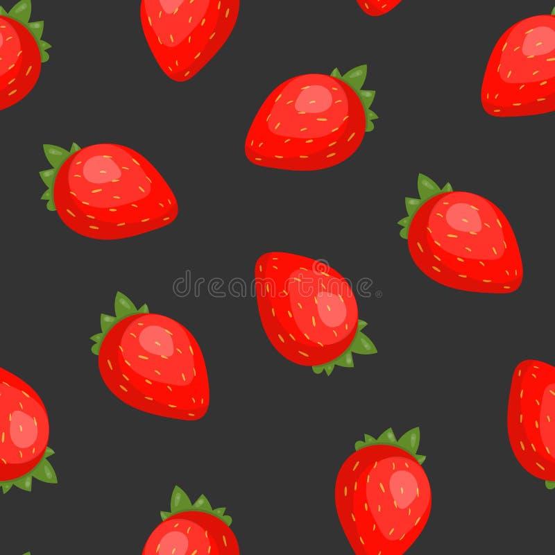 Modelo inconsútil magnífico con las fresas jugosas en fondo negro Contexto con las bayas frescas del jardín del verano, sabrosas ilustración del vector