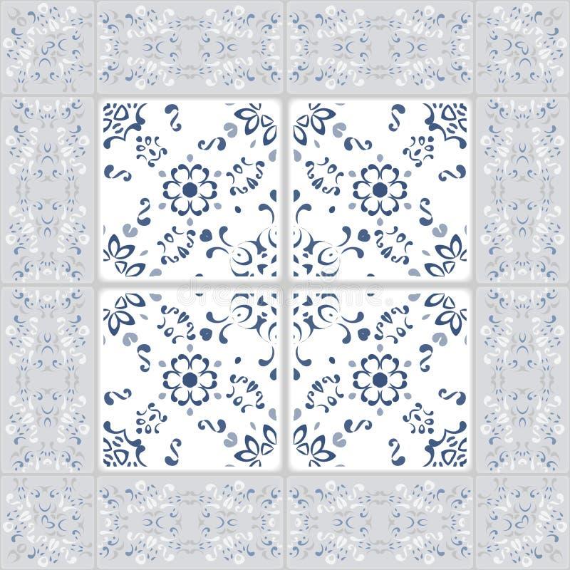 Modelo inconsútil magnífico de las tejas y de la frontera Marroquí, portugués, turco, ornamentos de Azulejo Para el papel pintado ilustración del vector