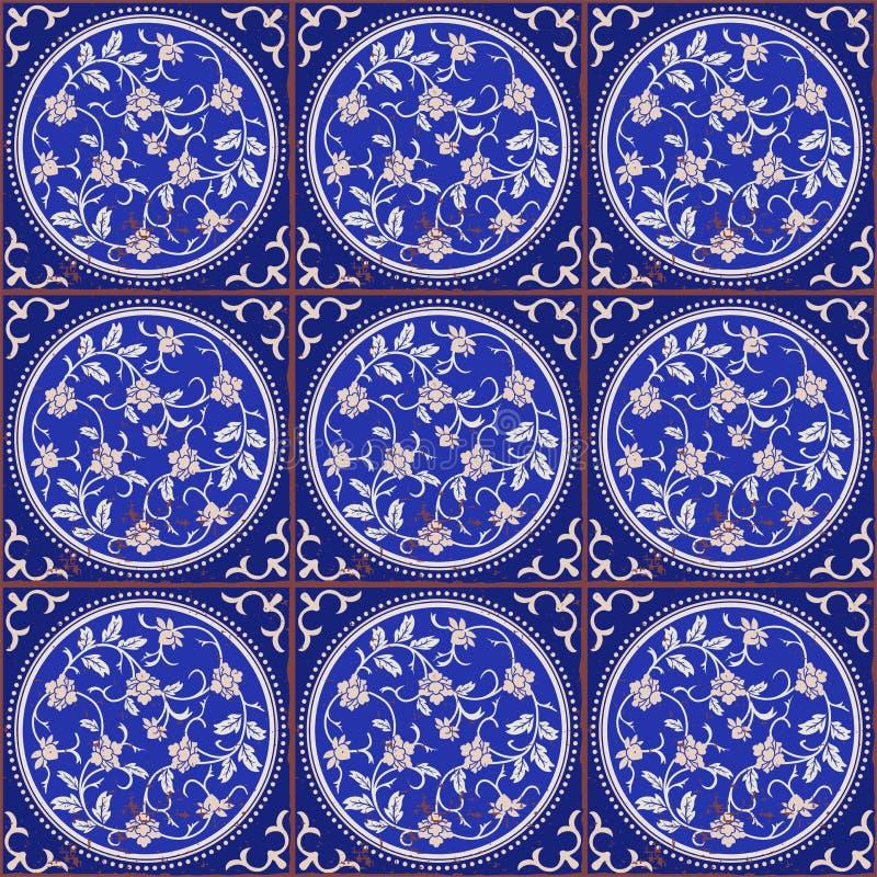 Modelo inconsútil magnífico de tejas chinas Fondo elegante floral en sombras del azul stock de ilustración