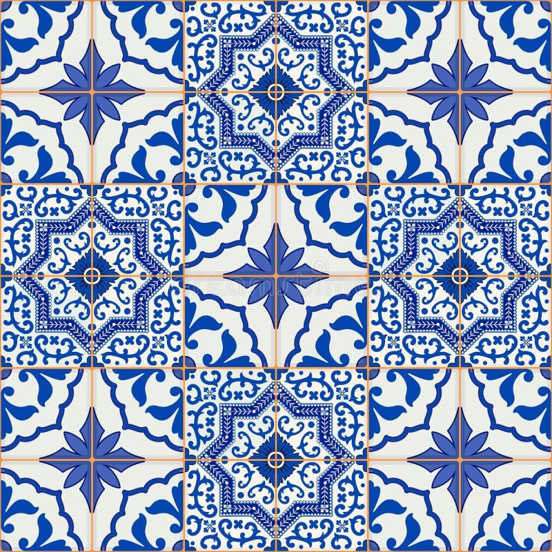 Modelo inconsútil magnífico del remiendo de las tejas marroquíes, portuguesas azul marino y blancas, Azulejo, ornamentos stock de ilustración