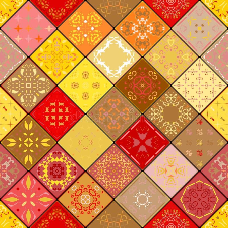 Modelo inconsútil magnífico mega del remiendo de las tejas marroquíes coloridas, ornamentos ilustración del vector