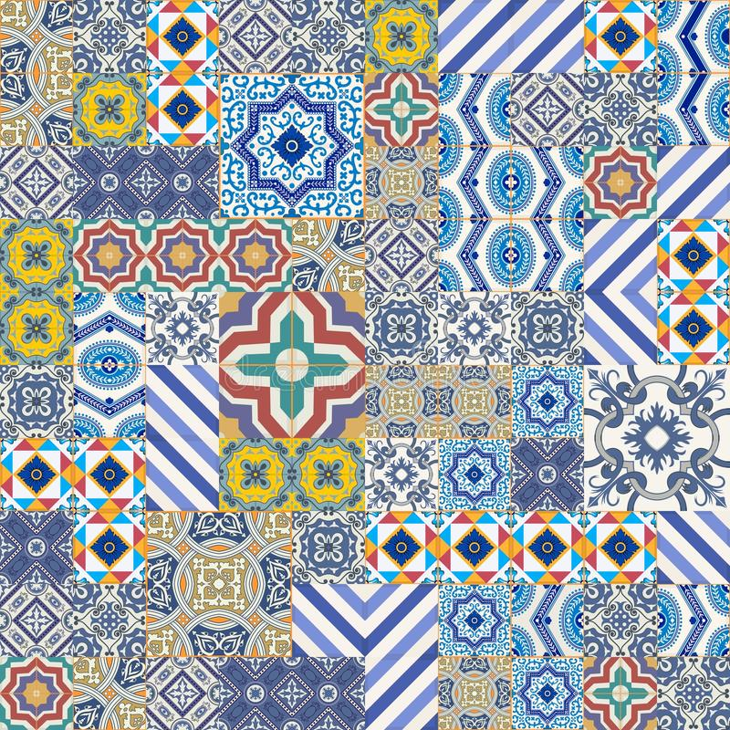 Modelo inconsútil magnífico mega del remiendo de las tejas marroquíes, portuguesas coloridas, Azulejo, ornamentos ilustración del vector