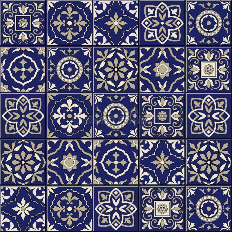 Modelo inconsútil magnífico Tejas marroquíes, portuguesas, Azulejo, ornamentos ilustración del vector