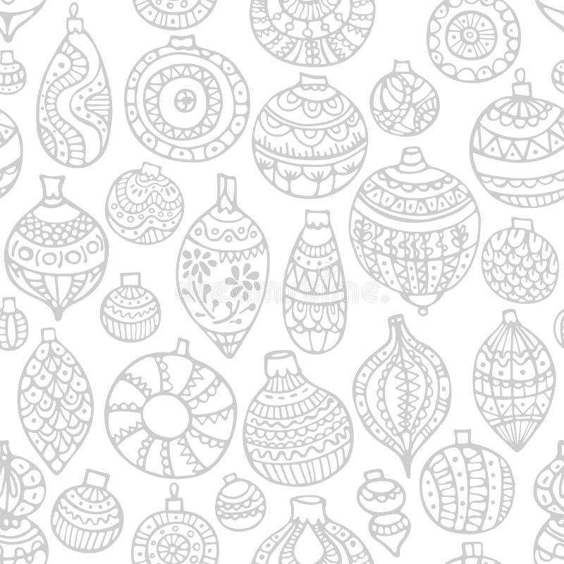 Modelo inconsútil a mano para la Navidad en un fondo blanco con las bolas de la Navidad stock de ilustración