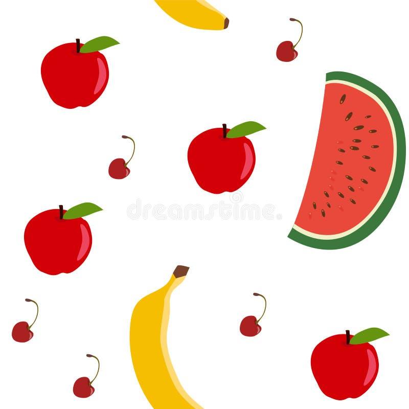 Modelo inconsútil - manzana, sandía, plátano, cereza Gráficos de vector ilustración del vector
