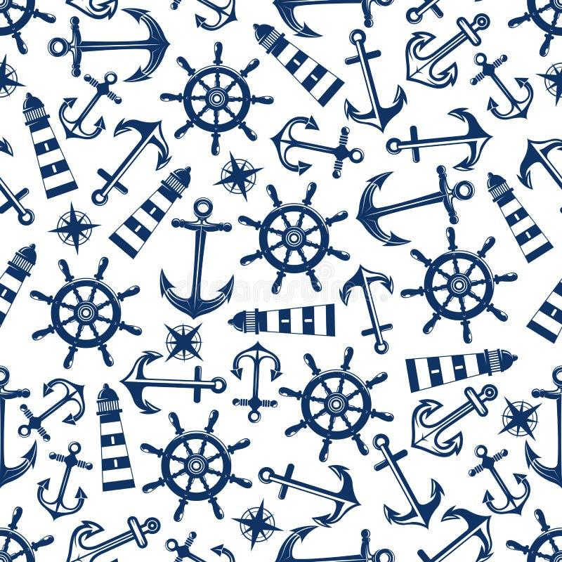 Modelo inconsútil marino con los artículos azules stock de ilustración