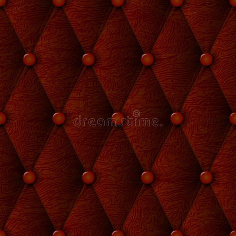 Modelo inconsútil marrón de lujo de la textura de cuero Material de base de cuero para el papel pintado y el interior de los mueb stock de ilustración