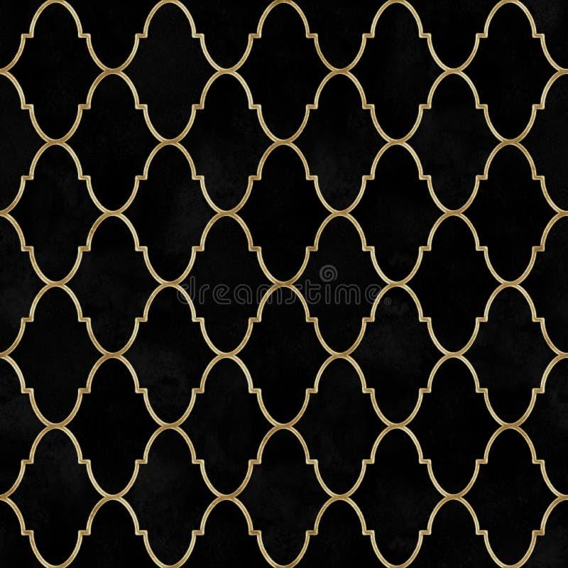 Modelo inconsútil marroquí del vintage de la acuarela decorativa negra del terciopelo libre illustration