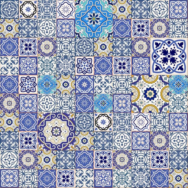 Modelo inconsútil mega del remiendo de las tejas marroquíes coloridas ilustración del vector