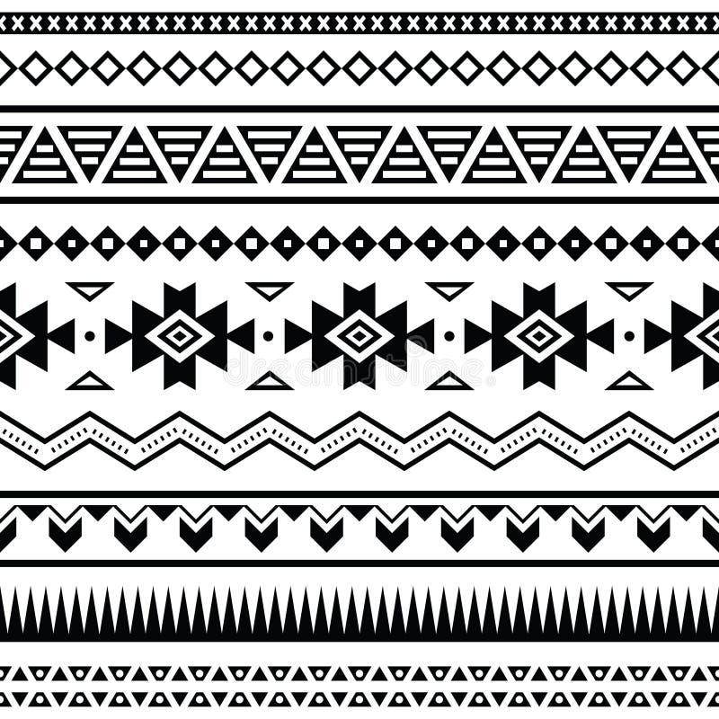 Modelo inconsútil mexicano azteca stock de ilustración