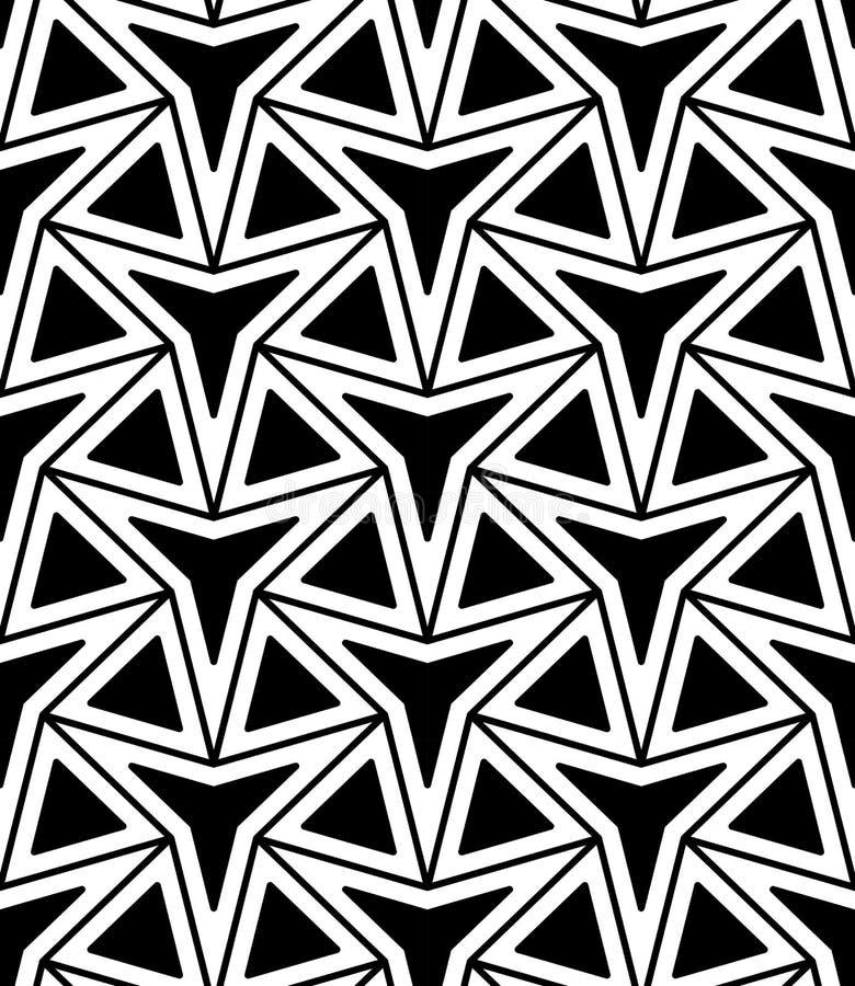 Modelo inconsútil moderno de la geometría del vector estrella de tres puntos, extracto blanco y negro libre illustration