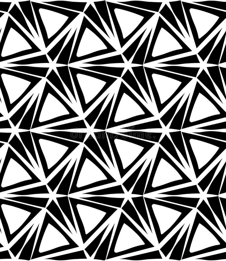 Modelo inconsútil moderno de la geometría del vector estrella de tres puntos, extracto blanco y negro stock de ilustración