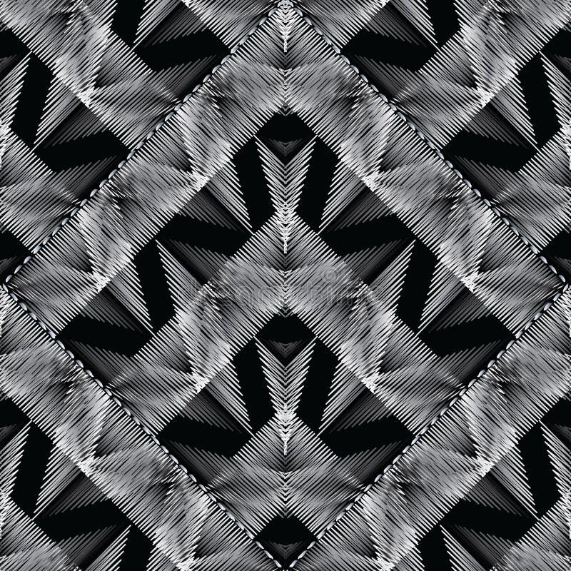 Modelo inconsútil moderno geométrico del bordado Fondo del Grunge libre illustration