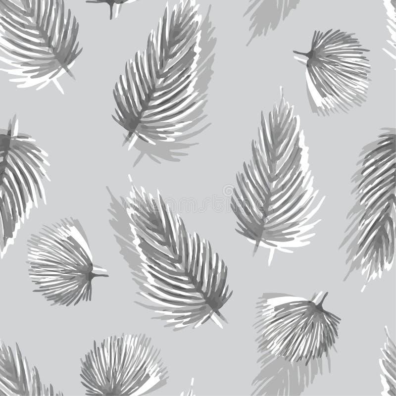 Modelo inconsútil monótono de la acuarela blanca y gris con tropica stock de ilustración