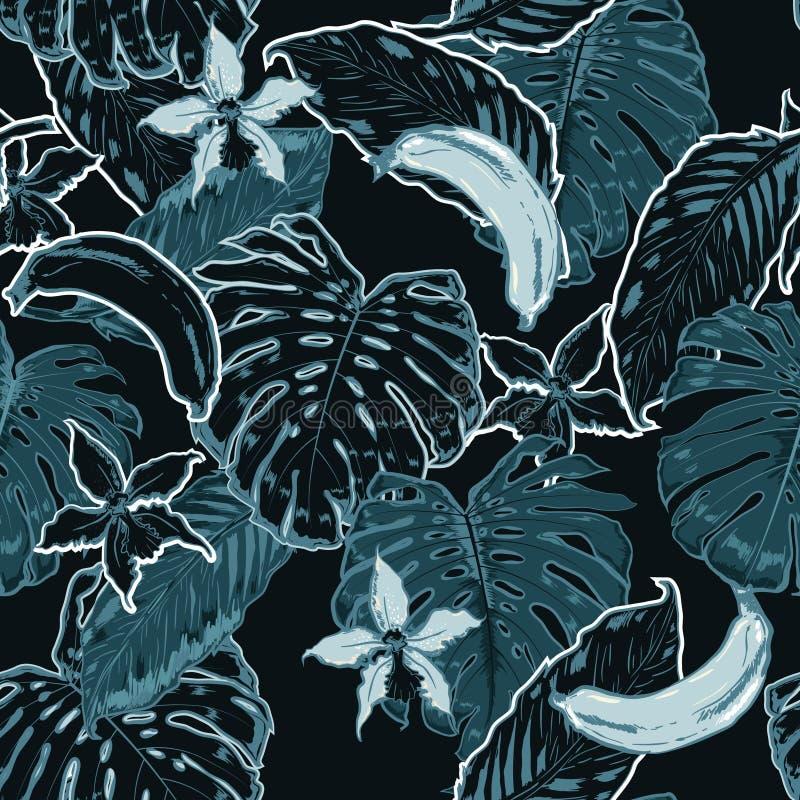 Modelo inconsútil monótono del verano azul y oscuro con el pasto tropical stock de ilustración