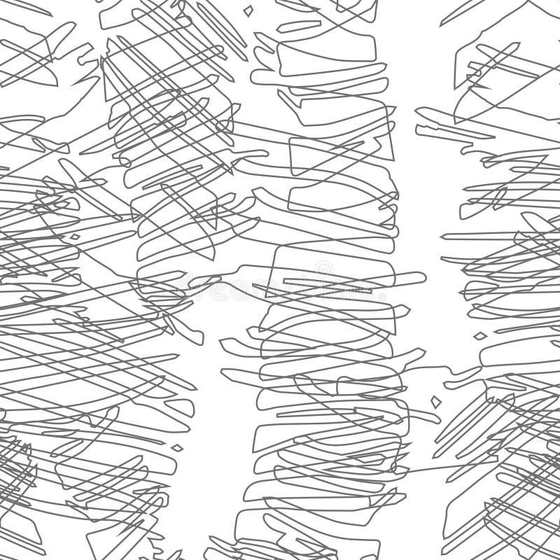 Modelo inconsútil monocromático con bosquejo tropical exhausto de la mano ilustración del vector