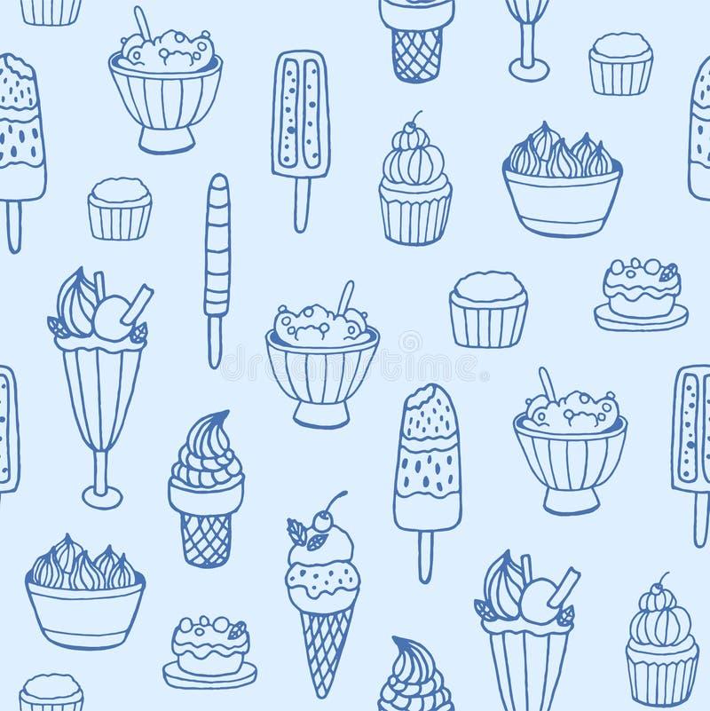 Modelo inconsútil monocromático con helado delicioso y postres lechosos de diversos tipos en el fondo blanco contexto stock de ilustración