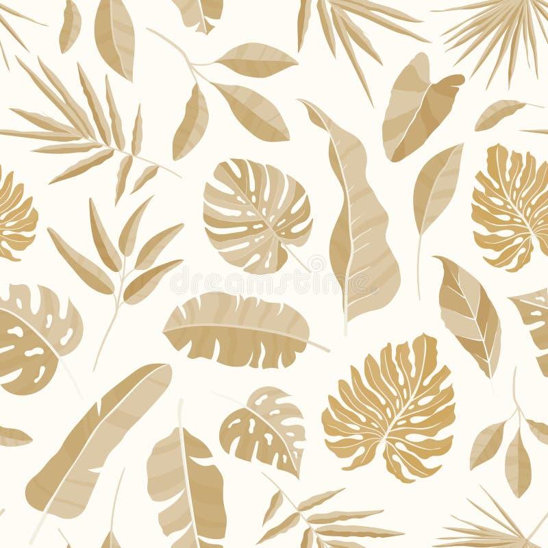 Modelo inconsútil monocromático con la vegetación lujuriante del contexto tropical de la selva tropical con las hojas exóticas de stock de ilustración