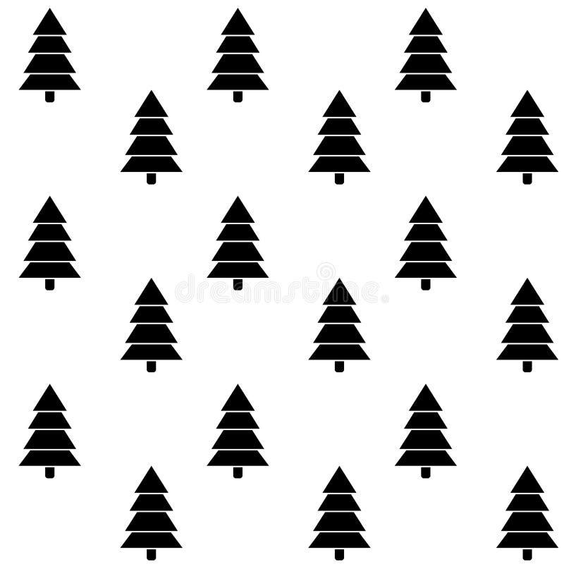 Modelo inconsútil monocromático de la Navidad del árbol stock de ilustración