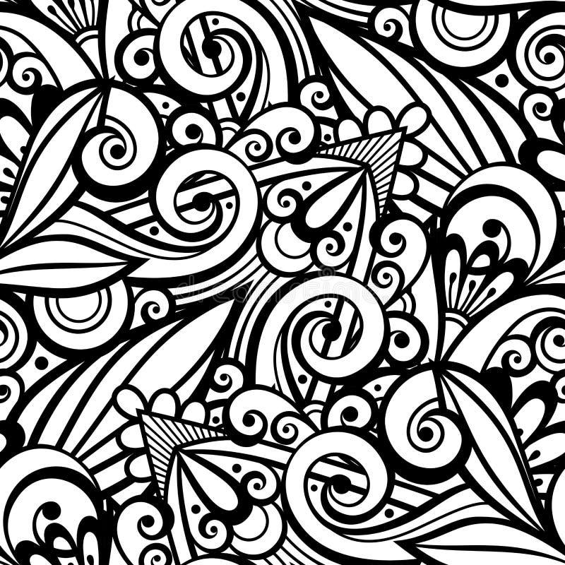 Modelo inconsútil monocromático del vector con el ornamento floral stock de ilustración