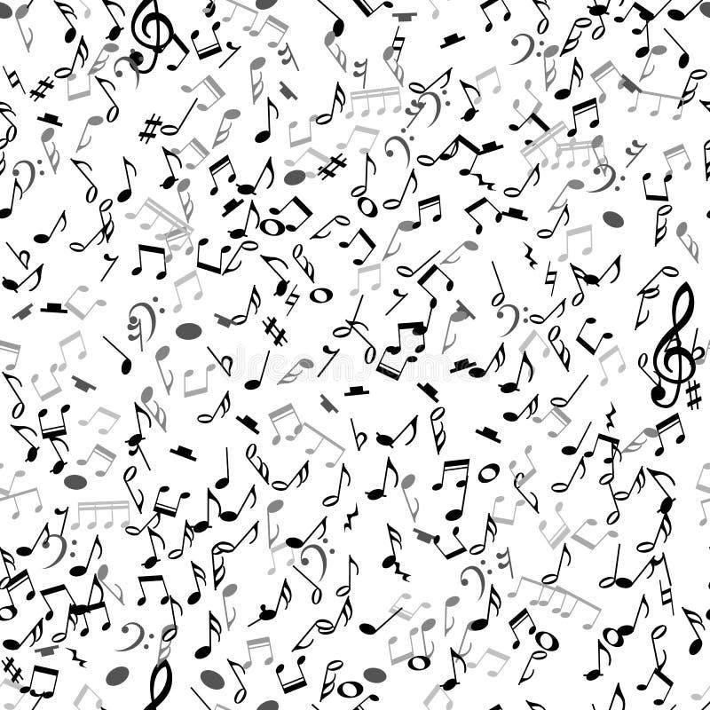 Modelo inconsútil musical abstracto con las notas negras sobre el fondo blanco ilustración del vector
