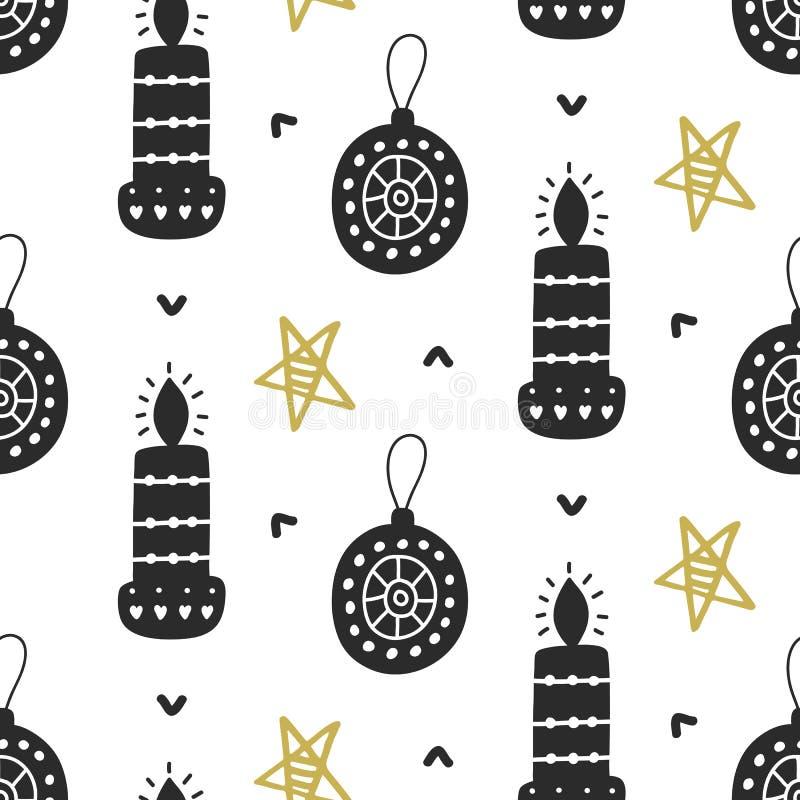 Modelo inconsútil nórdico de la Navidad escandinava con los elementos decorativos del garabato ilustración del vector
