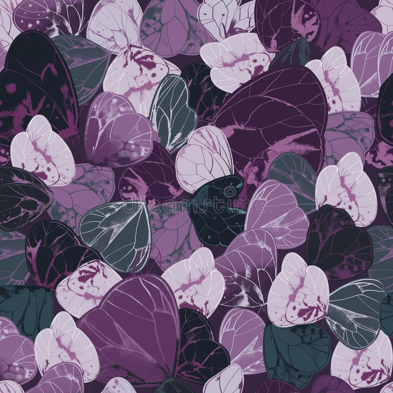Modelo inconsútil natural con las mariposas o las polillas exóticas con las alas púrpuras y grises Contexto hermoso con precioso stock de ilustración