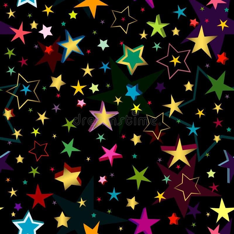 Modelo inconsútil negro con las estrellas stock de ilustración