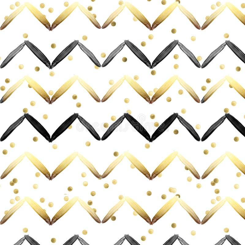 Modelo inconsútil - negro y rayas del oro en conftti del oro y el fondo blanco libre illustration