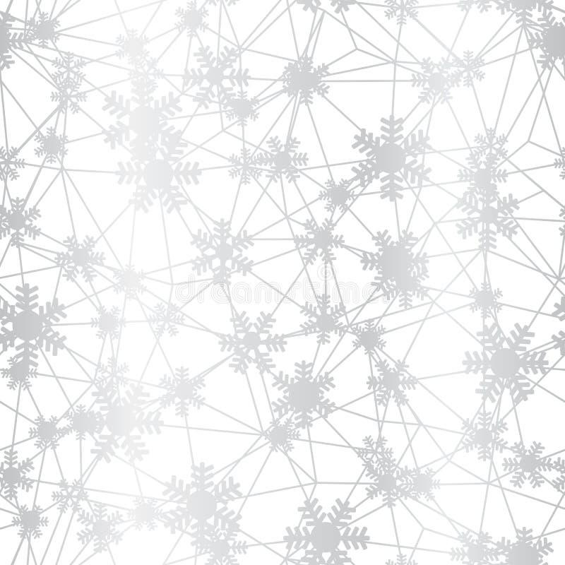 Modelo inconsútil neto de los copos de nieve de plata de la Navidad ilustración del vector