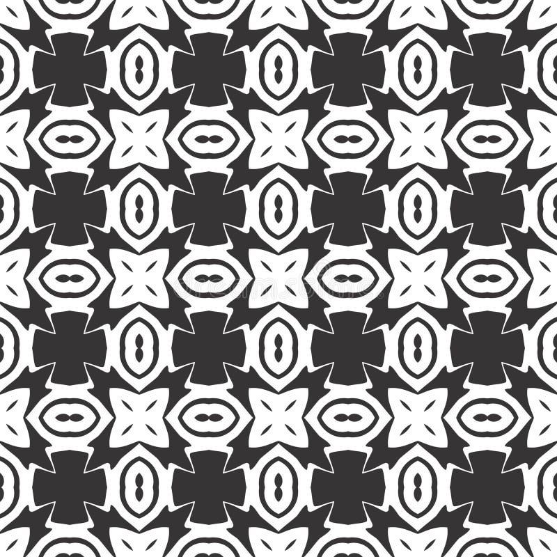 Modelo inconsútil o diseño de la flor geométrica abstracta blanco y negro del vector ilustración del vector