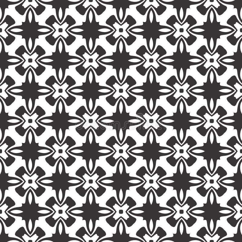 Modelo inconsútil o ejemplo de la flor geométrica abstracta blanco y negro del vector ilustración del vector