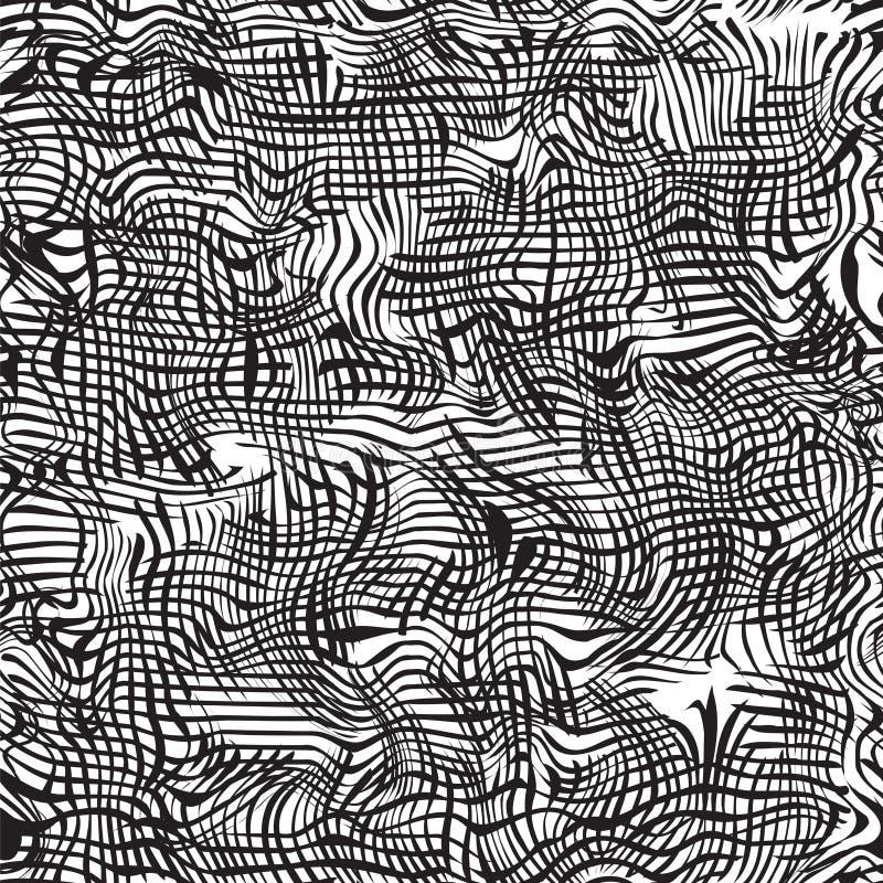 Modelo inconsútil ondulado del grunge blanco y negro libre illustration
